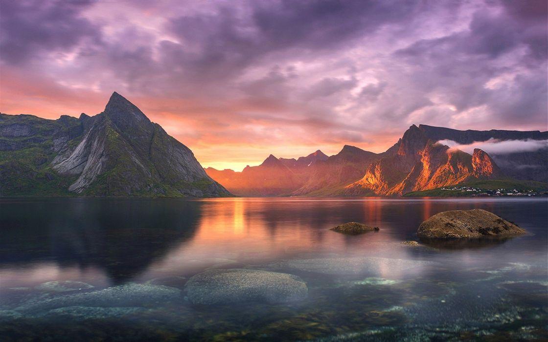 nature landscape lake sunset mountains clouds sun rays wallpaper