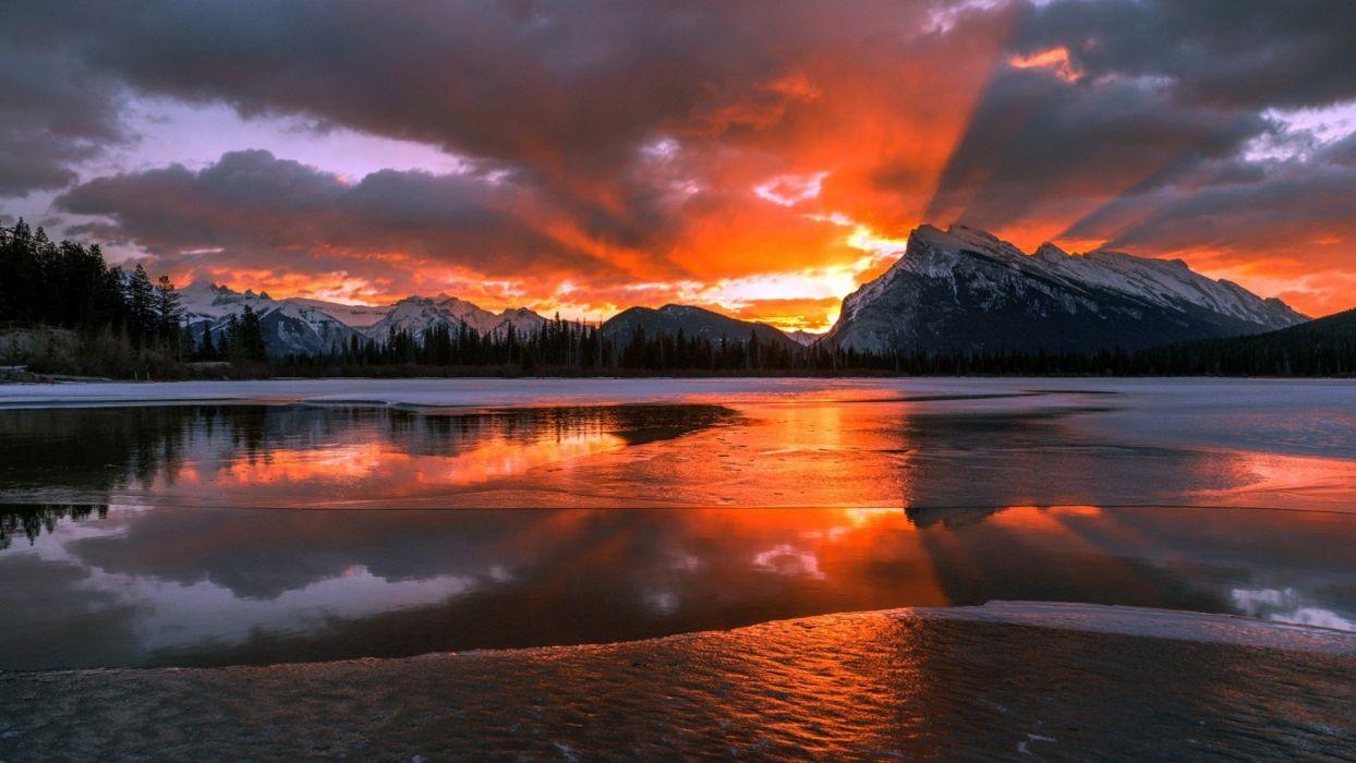 nature landscape mountains Canada Alberta snow winter wallpaper
