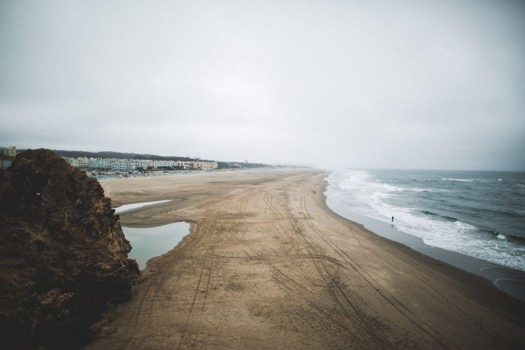 nature landscape photography far view beach sea waves sound wallpaper