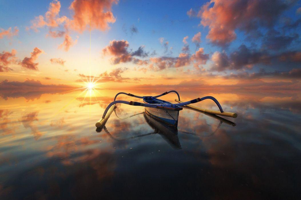 photography boat reflection sea alone clouds horizon sky wallpaper