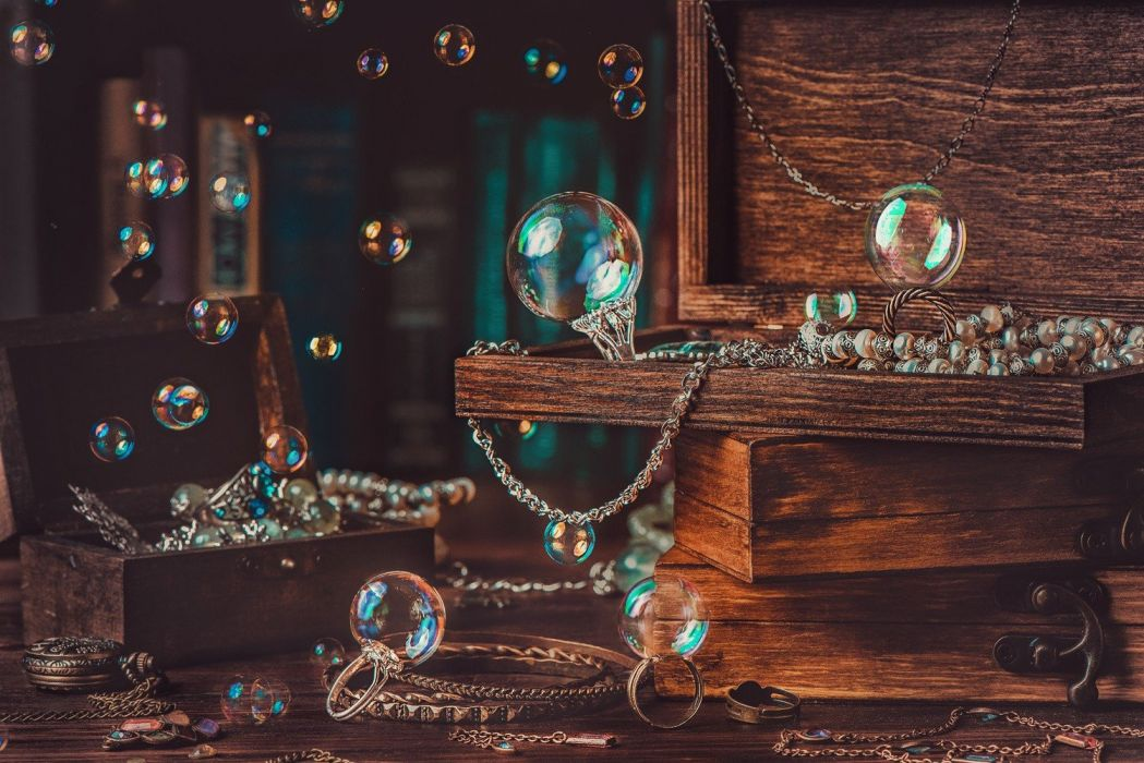 photography jewels bubbles boxes wood wallpaper