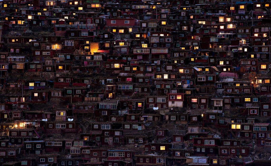 photography house lights window favelas wallpaper