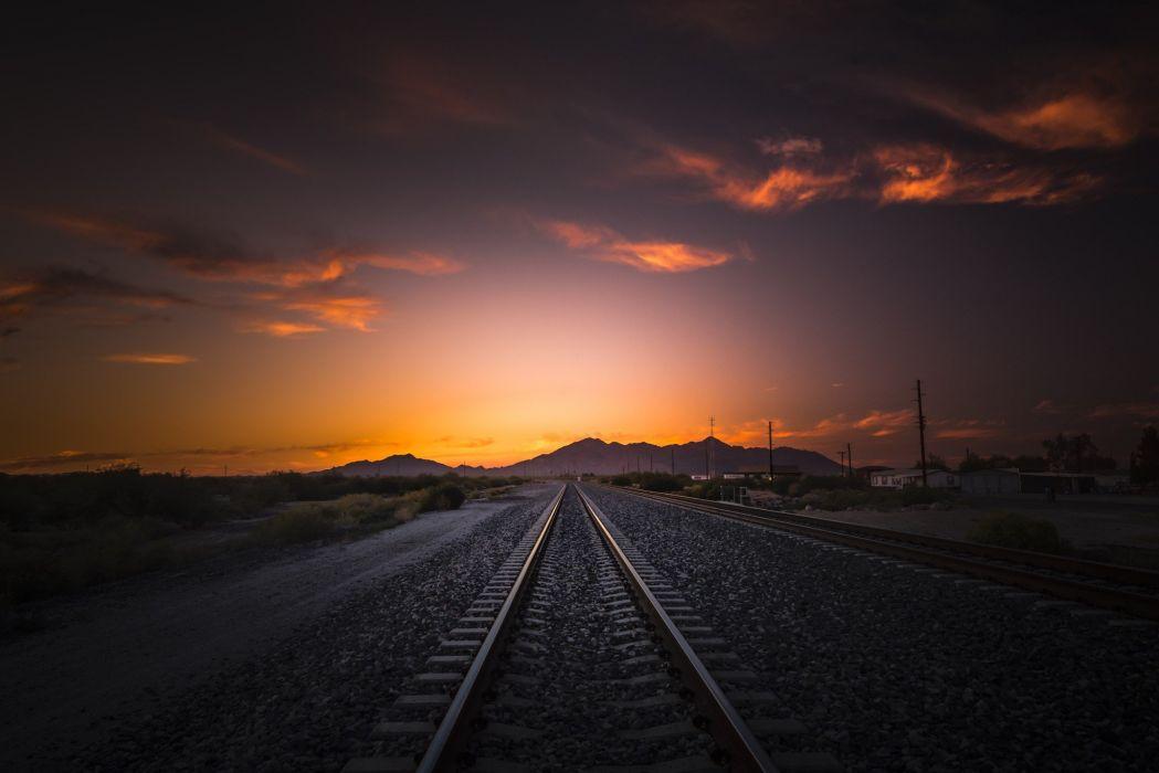 photography railway tracks house sky power lines wallpaper