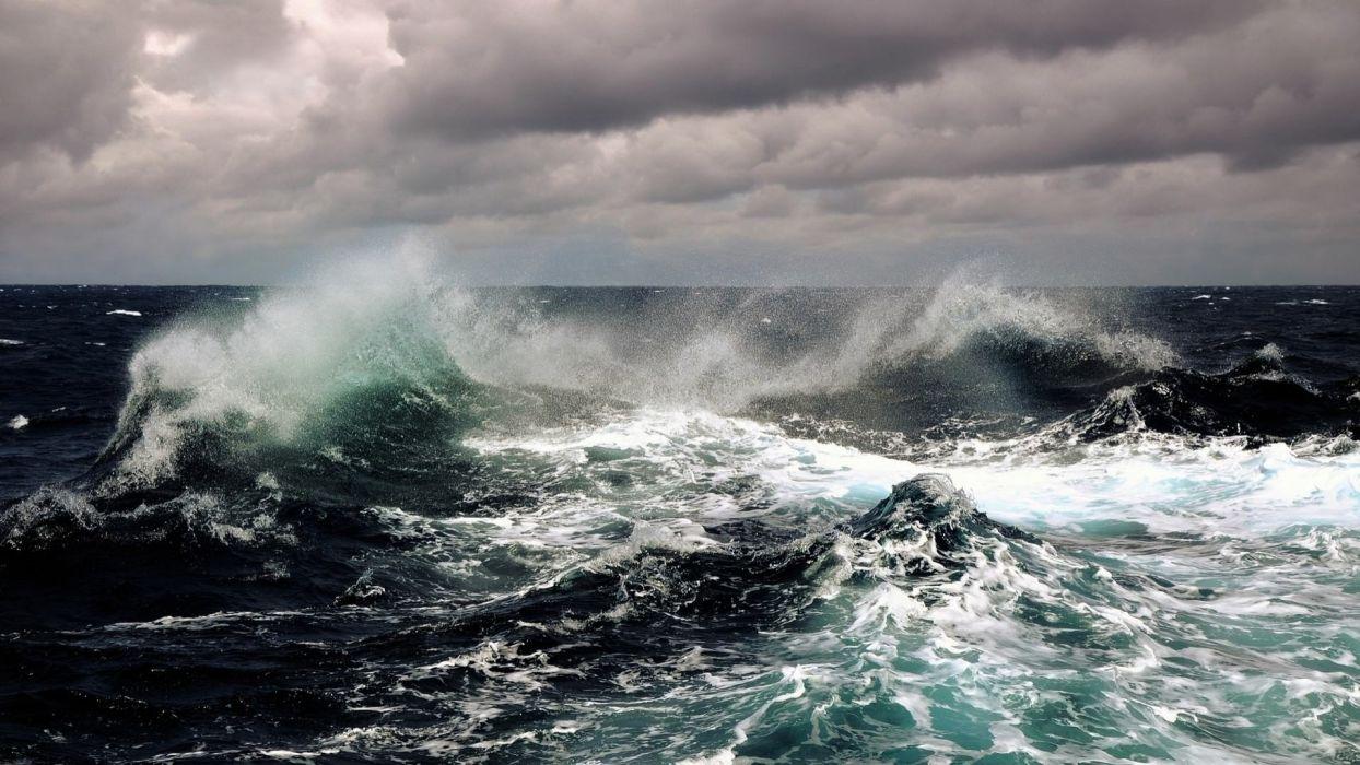 sea water horizon sky clouds waves wallpaper