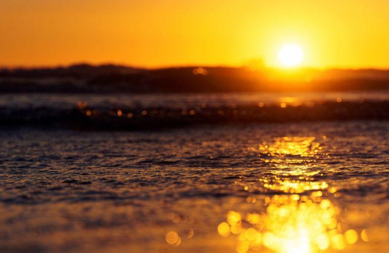 sea depth of field water bokeh Sun horizon wallpaper