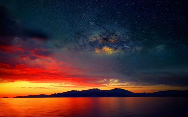 stars silhouette Milky Way Sunset Landscape Clouds Photo manipulation wallpaper