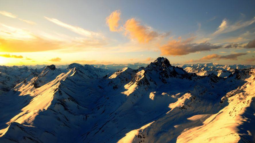 snow mountains landscape sunlight wallpaper