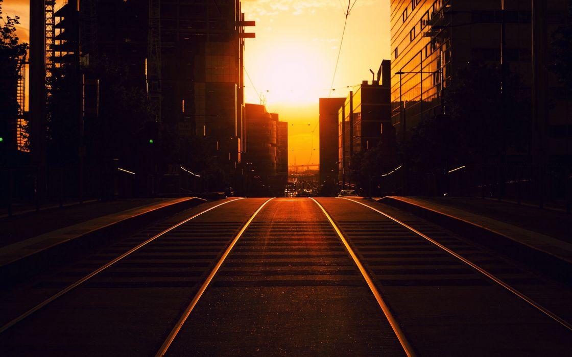 sunset road cityscapes city Melbourne Australia Golden Hour Sunlight wallpaper