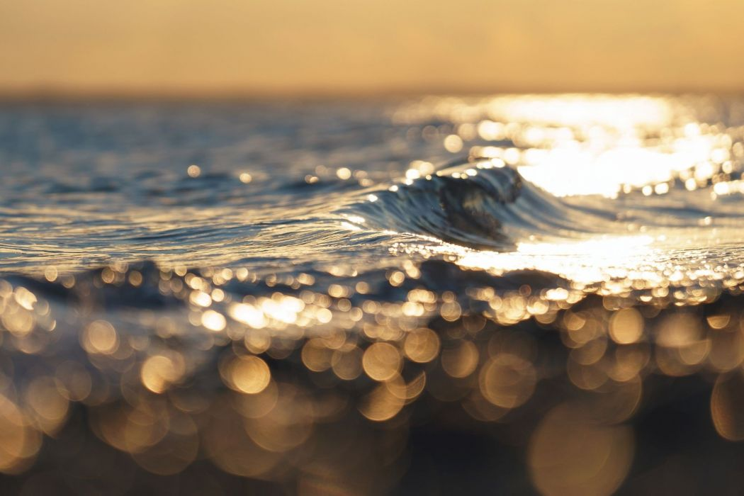 waves bokeh sea depth of field horizon wallpaper
