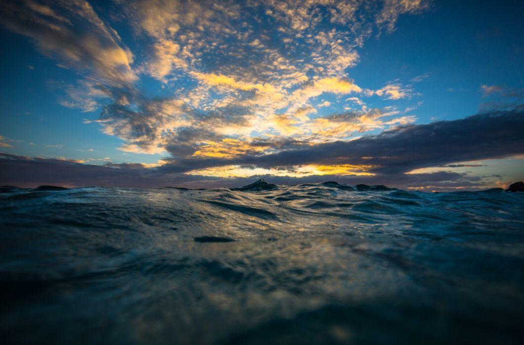 waves sea sky clouds depth of field wallpaper