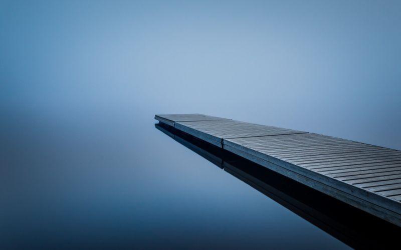 water blurred long exposure mist pier wallpaper