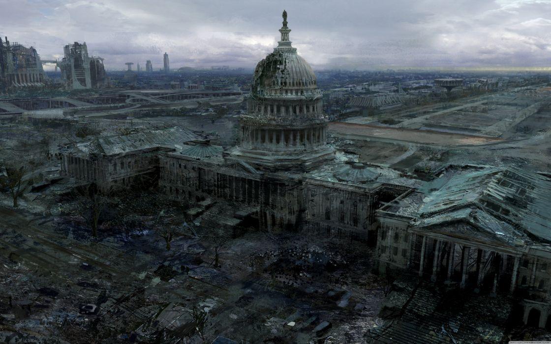 fallout 3 capitol building-wallpaper-5120x3200 wallpaper