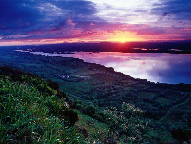 Copy(1) of Sunset Across Lower Lough Erne Fermanagh Ireland wallpaper