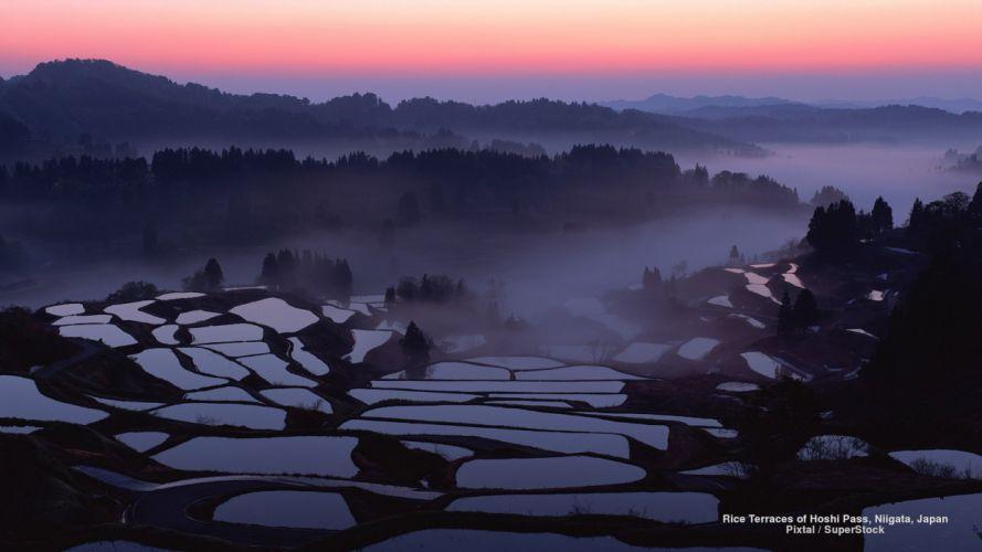 Rice Terraces of Hoshi Pass Niigata Japan wallpaper
