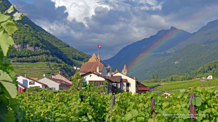 Rainbow Over Aigle Castle Switzerland wallpaper