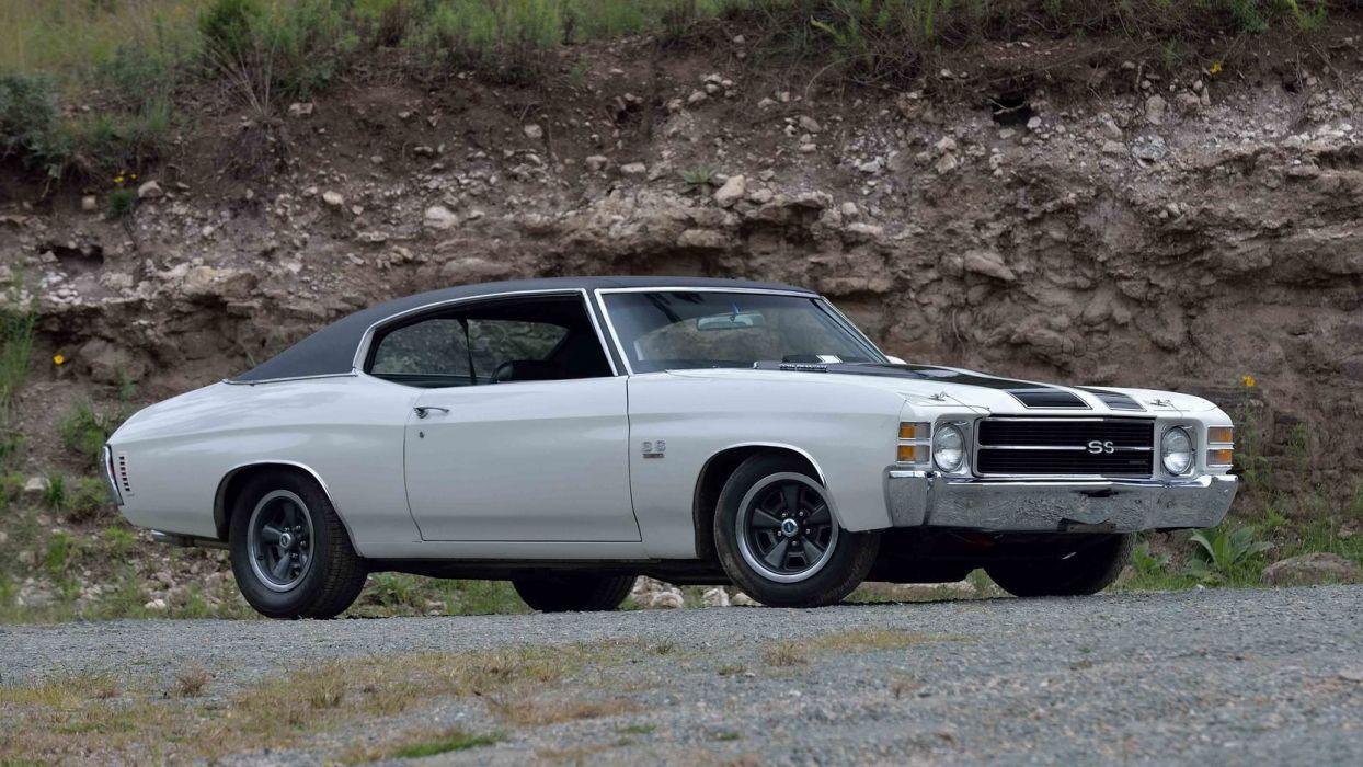 1971 CHEVROLET CHEVELLE (SS) cars white wallpaper