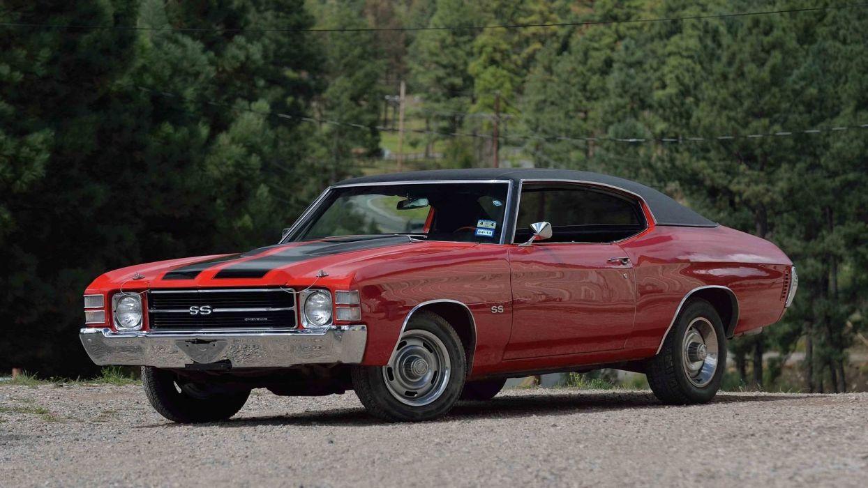1971 CHEVROLET CHEVELLE (SS) cars red wallpaper