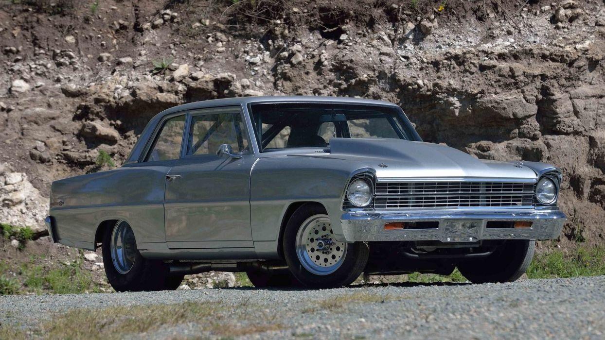 1967 CHEVROLET CHEVY (II) PRO STREET silver cars wallpaper