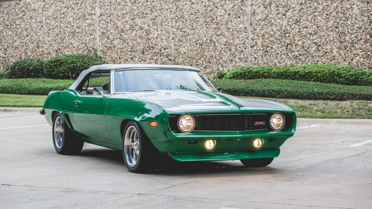 1969 CHEVROLET CAMARO cars CONVERTIBLE green wallpaper