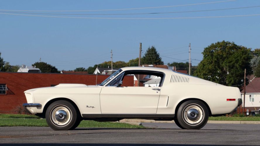 1968 FORD MUSTANG COBRA JET LIGHTWEIGHT cars white wallpaper