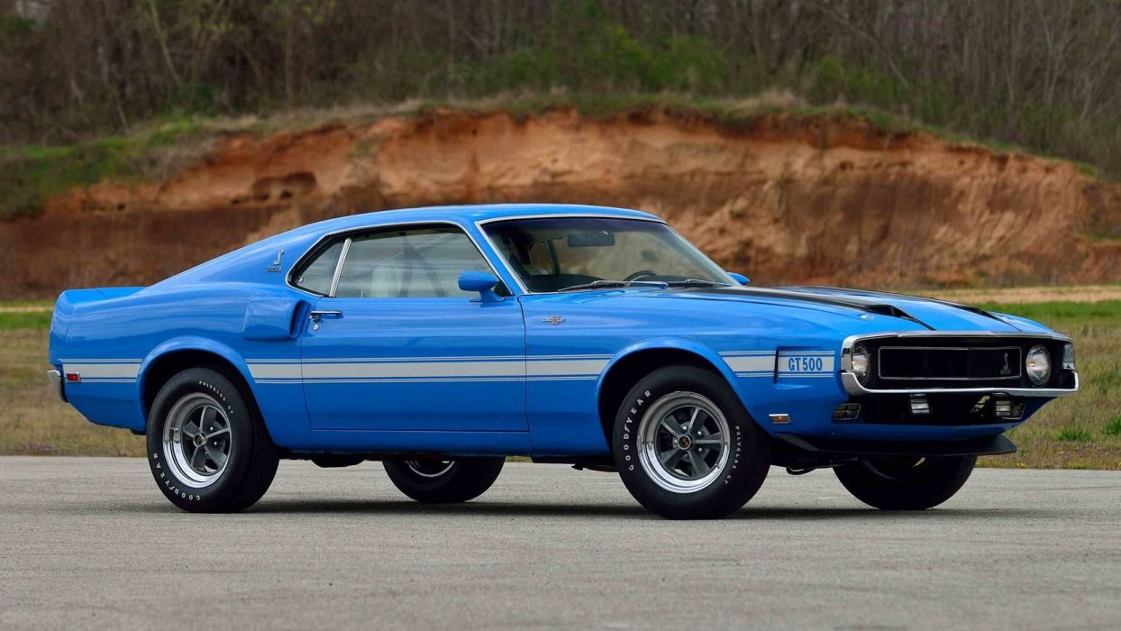 1970 ford mustang shelby gt500 fastback cars blue wallpaper