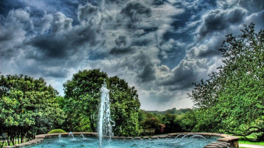 paisaje fuente nubes arboles naturaleza wallpaper