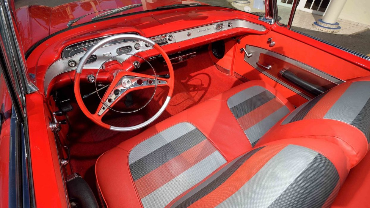 1958 CHEVROLET IMPALA CONVERTIBLE cars classic red wallpaper