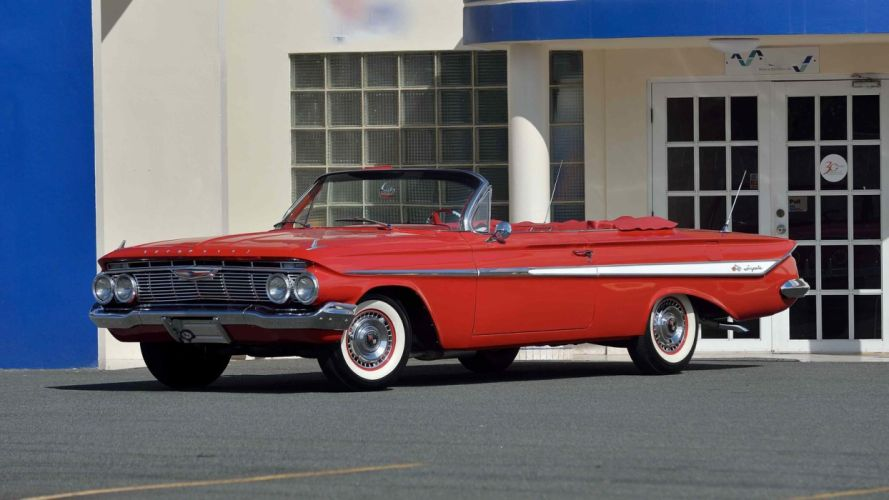 1961 CHEVROLET IMPALA CONVERTIBLE cars classic red wallpaper