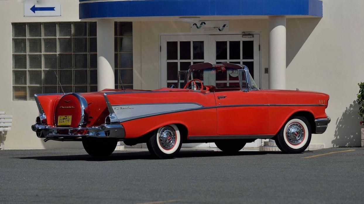 1957 CHEVROLET BEL AIR CONVERTIBLE cars classic red wallpaper