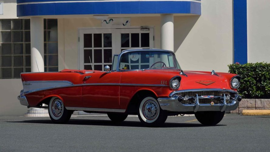 1957 CHEVROLET BEL AIR CONVERTIBLE cars classic red wallpaper