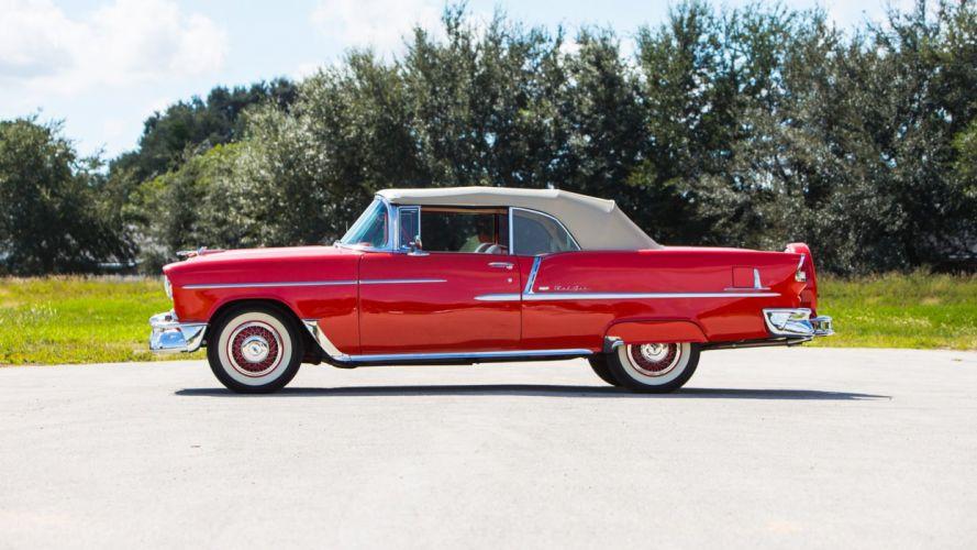 1955 CHEVROLET BEL AIR CONVERTIBLE cars classic red wallpaper