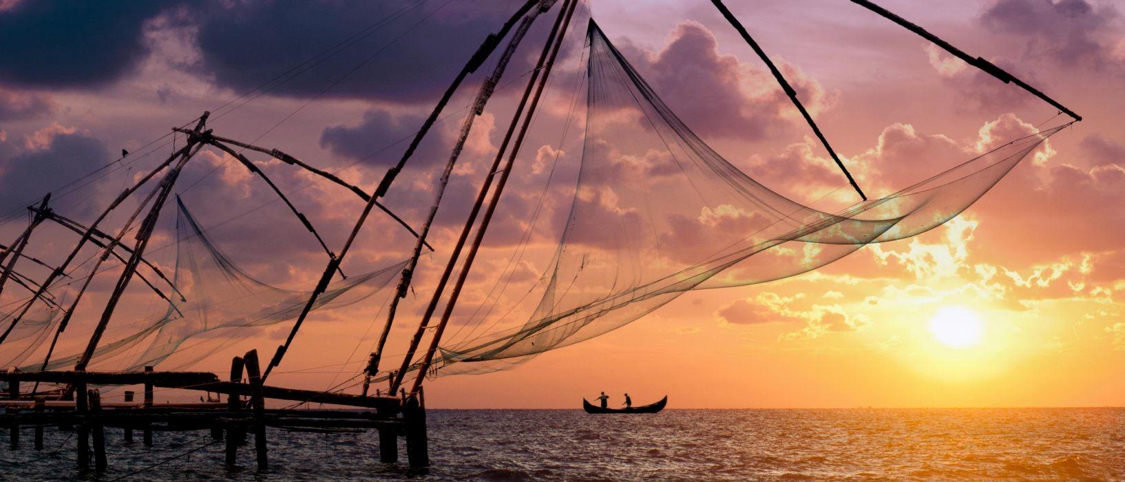 Kochi Kerala Blues Back Water Lagoons Sunset Beach Ship Channels Chinese Nets Skyscraper water city (1) wallpaper