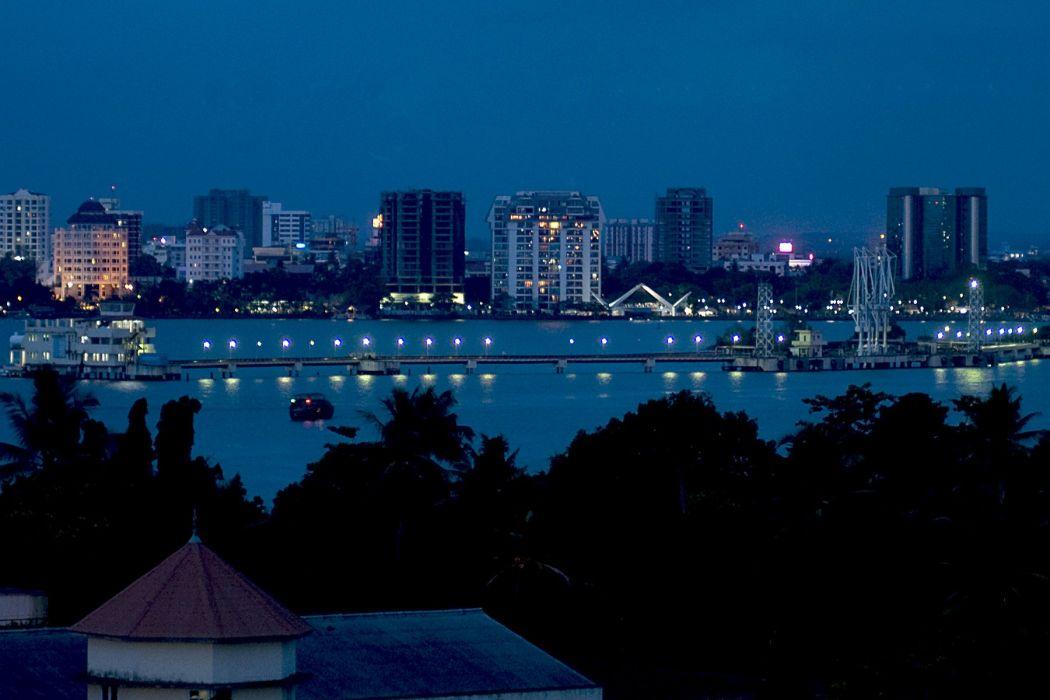 Kochi Kerala Blues Back Water Lagoons Sunset Beach Ship Channels Chinese Nets Skyscraper water city (18) wallpaper