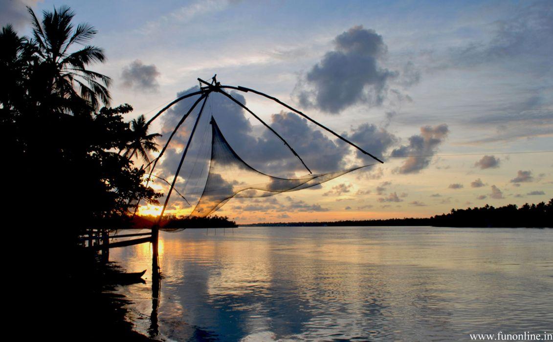 Kochi Kerala Blues Back Water Lagoons Sunset Beach Ship Channels Chinese Nets Skyscraper water city (13) wallpaper