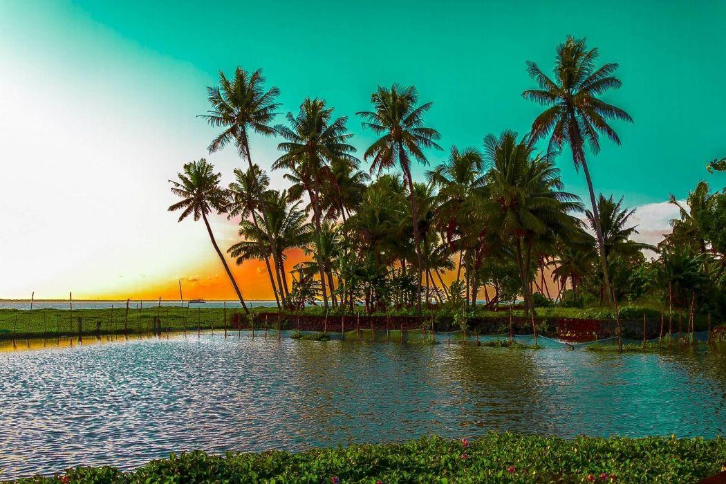 Kochi Kerala Blues Back Water Lagoons Sunset Beach Ship Channels Chinese Nets Skyscraper water city (10) wallpaper