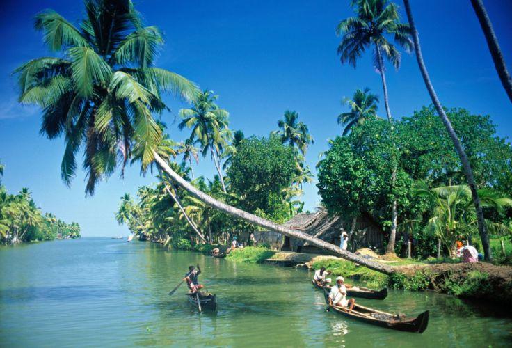 Kochi Kerala Blues Back Water Lagoons Sunset Beach Ship Channels Chinese Nets Skyscraper water city (11) wallpaper