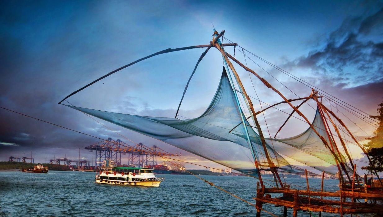 Kochi Kerala Blues Back Water Lagoons Sunset Beach Ship Channels Chinese Nets Skyscraper water city (4) wallpaper