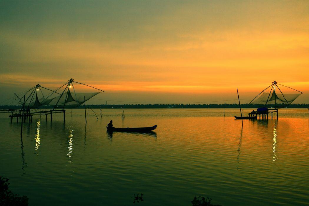 Kochi Kerala Blues Back Water Lagoons Sunset Beach Ship Channels Chinese Nets Skyscraper water city (17) wallpaper