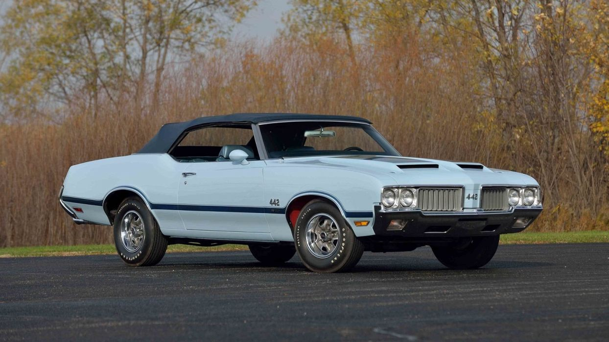 1970 OLDSMOBILE 442 W-30 CONVERTIBLE cars blue wallpaper