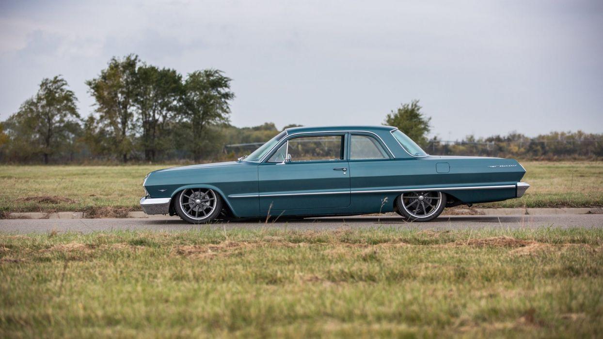 1963 CHEVROLET BEL AIR RESTO MOD cars blue wallpaper