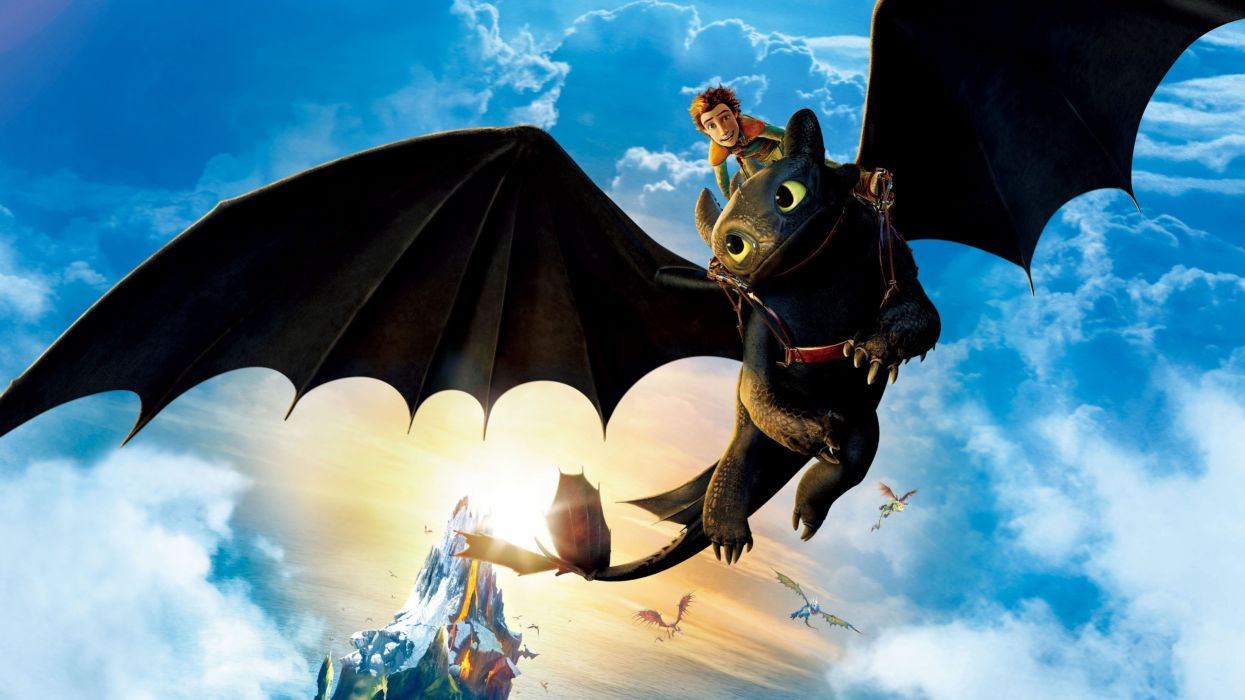 hiccup riding toothless-3840x2160 wallpaper