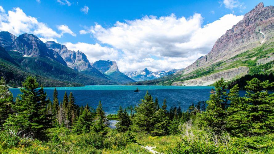 saint mary lake glacier national park-3840x2160 wallpaper