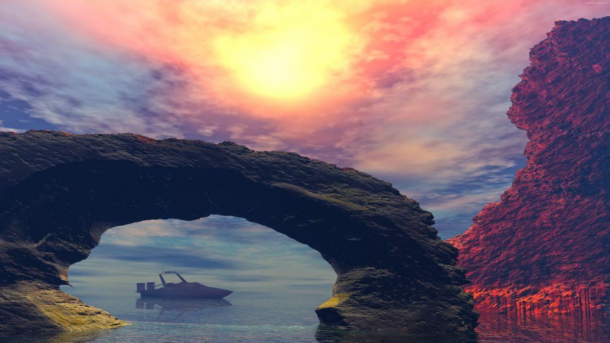 Landscape Rocks 8K wallpaper