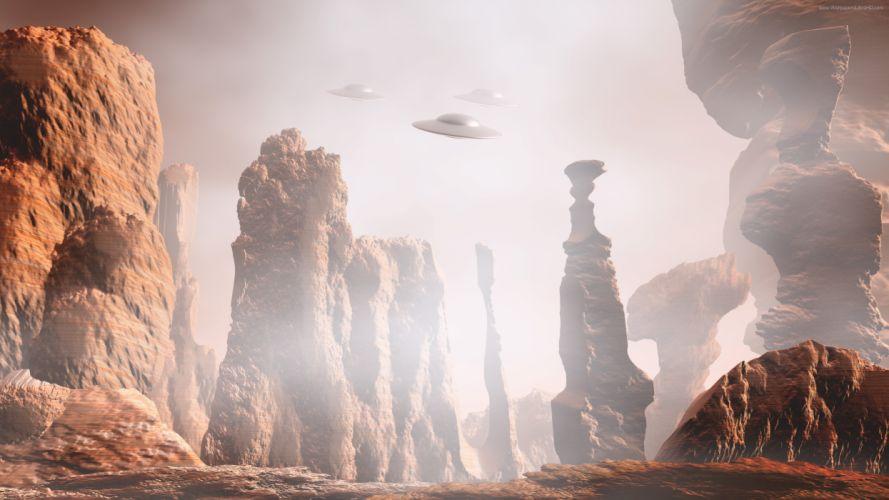 martian landscape ufo 8K wallpaper