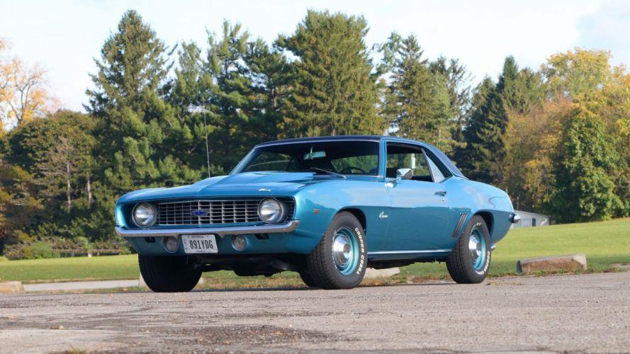 1969 Chevrolet COPO Camaro cars blue wallpaper