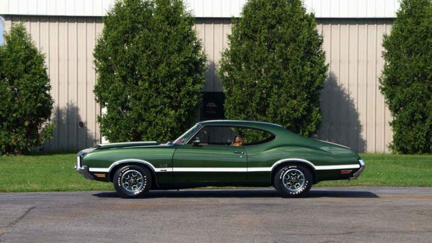 1972 OLDSMOBILE 442 W-30 coupe cars green wallpaper