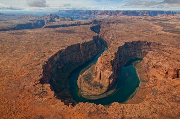 Grand Canyon Horse Shoe Bend Aerial View Free Wallpaper HD wallpaper