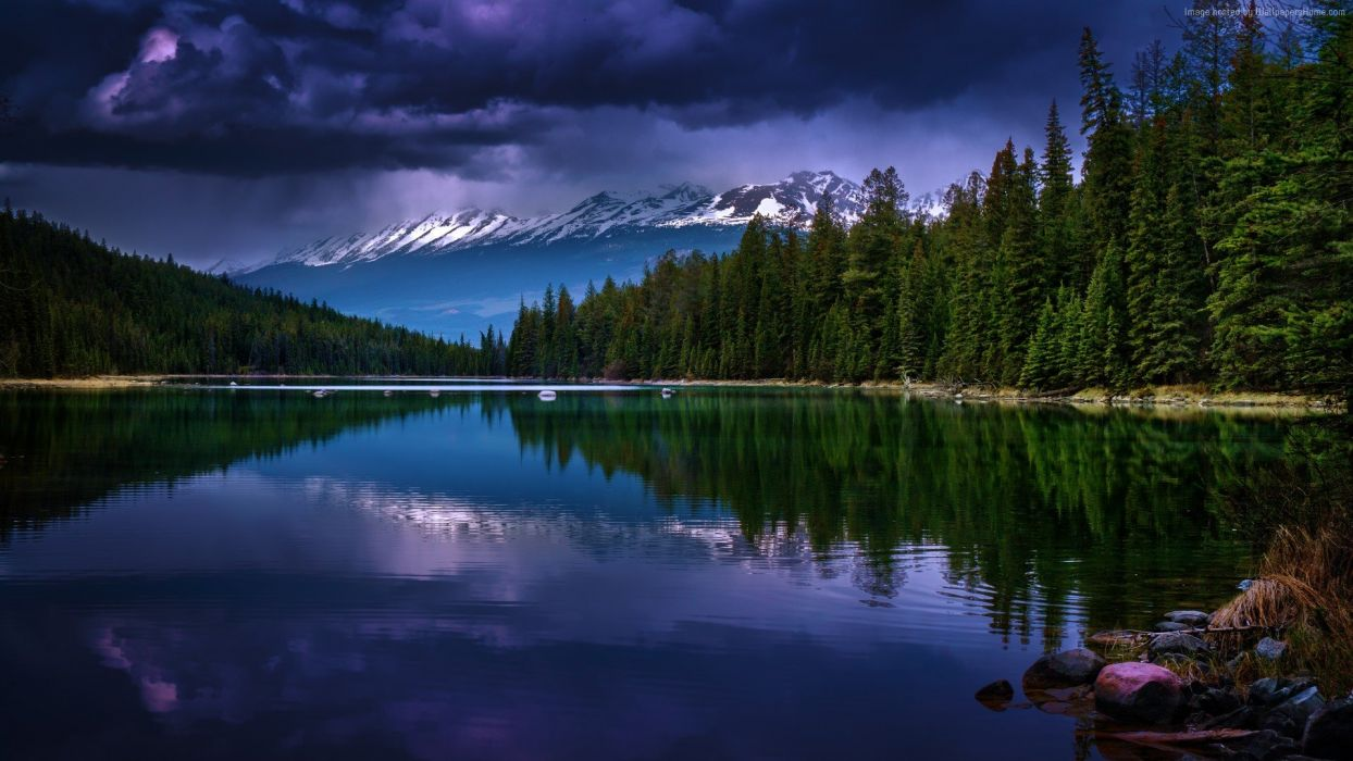 mountains-1920x1080-river-pines-trees-clouds-5526 wallpaper