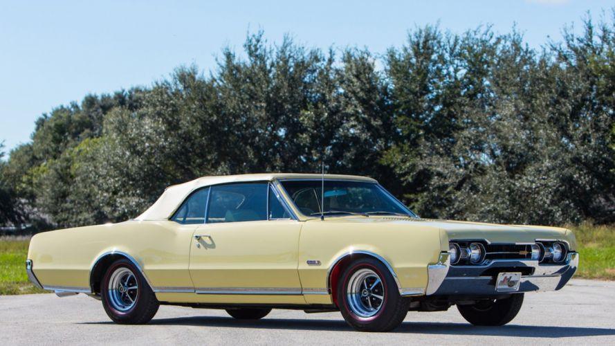 1967 OLDSMOBILE 442 CONVERTIBLE cars yellow wallpaper