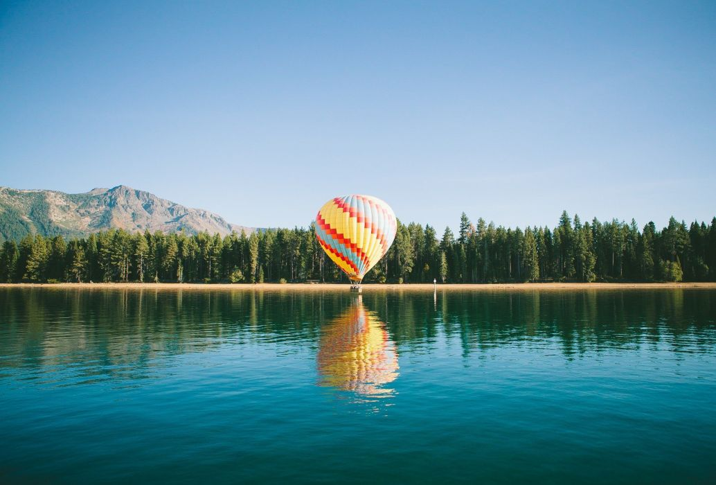 balloon Hot Air Balloons landscape mountains river Trees wallpaper